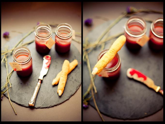 Томатный суп-пюре «Зов крови» и печенье с пармезаном «Пальцы ведьмы»