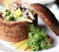 Хлебный горшочек с грибами в сливочном соусе