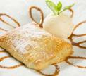 Горячий яблочный десерт с домашним мороженым