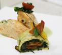 Филе лосося фаршированное лесными грибами и сыром моцарелла в спаржевом соусе