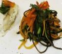 Судак фаршированный рикоттой и базиликом с жульеном из овощей под белым соусом от Иньяцио Роза