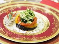 Рататуй с грибным соусом и сырным дипом с зеленью