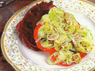 Слоеная овощная запеканка с зеленью и сладким перцем