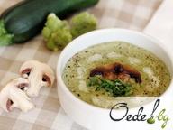Суп-пюре из цукини, брокколи, шампиньонов и сливок