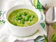 Суп-пюре из молодого горошка и картофеля с мятой