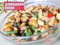Рецепт салата с мидиями и стручковой фасолью