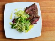 Рибай стейк с миксом из салатов