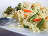 Рис со спаржей, брокколи и цветной капустой