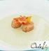 Холодный суп из цуккини с тартаром из лосося