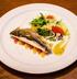 Сибас с микс-салатом и беби-кальмарами под медово-горчичным соусом