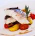 Рыба барамунди с обжаренным картофелем и томатами черри